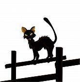 imagem de vetor dos desenhos animados do gato preto, isolado no branco