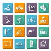 pic of construction machine  - Road worker flat icons set with construction tools and machines isolated vector illustration - JPG