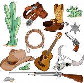 image of cowboy  - Various vintage cowboy western objects set - JPG