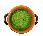 stock photo of pesto sauce  - pesto sauce  inside earthenware bowl over White background - JPG