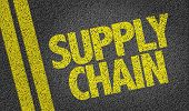 stock photo of supply chain  - Supply Chain written on the road - JPG