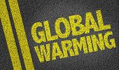 picture of global-warming  - Global Warming written on the road - JPG