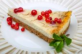 foto of cheesecake  - Cheesecake with berries and fresh mint branch - JPG