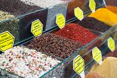 stock photo of arabian  - Colorful spices on the traditional arabian souk  - JPG