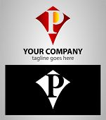 picture of letter p  - Abstract logo icon design template elements with letter P - JPG