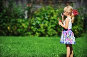 picture of blowers  - little girl play with bubble blower on green lawn - JPG