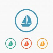 foto of sail ship  - Sail boat icon vector flat ship sign - JPG