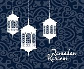 foto of kareem  - Hanging arabic lanterns or lamps for Ramadan Kareem holiday greeting card design - JPG