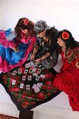 picture of gypsy  - Three gypsy women posing in traditional outfits