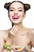 pic of nail  - Beautiful model girl with bright colored makeup and nail polish in the summer image - JPG