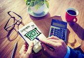 stock photo of revenue  - Return On Investment Financial Management Revenue Browsing Concept - JPG