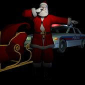 pic of sobriety  - santa pulled over being given a sobriety test.