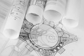 image of architecture  - rolls of architecture blueprints  - JPG