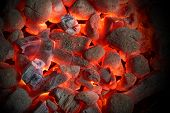 picture of charcoal  - Glowing Hot Charcoal Briquettes Close - JPG