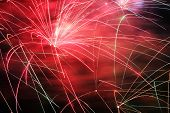 foto of firework display  - Firework exploding from a pyrotechnic celebration display - JPG