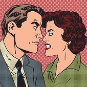 stock photo of hate  - Conflict man woman family quarrel love hate pop art comics retro style Halftone - JPG