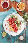 stock photo of nachos  - Pico de gallo and nacho chips on rustic wooden table background - JPG