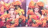 picture of laxmi  - goddess lakshmi and lord ganesha statue pray concept - JPG