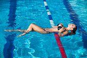 stock photo of slender  - Sexy swimmer - JPG