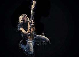picture of rocking  - Hard rock heavy metal guitarist playing his instrument - JPG