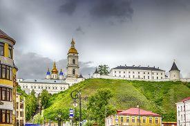 pic of siberia  - Tobolsk Kremlin panorama menacing sky hdr Russia Siberia Asia - JPG