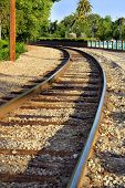 stock photo of train track  - Train tracks curve - JPG